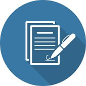 Signing Contract Icon. Business Concept. Flat Design.