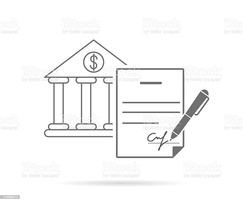 Signing contract vector art illustration