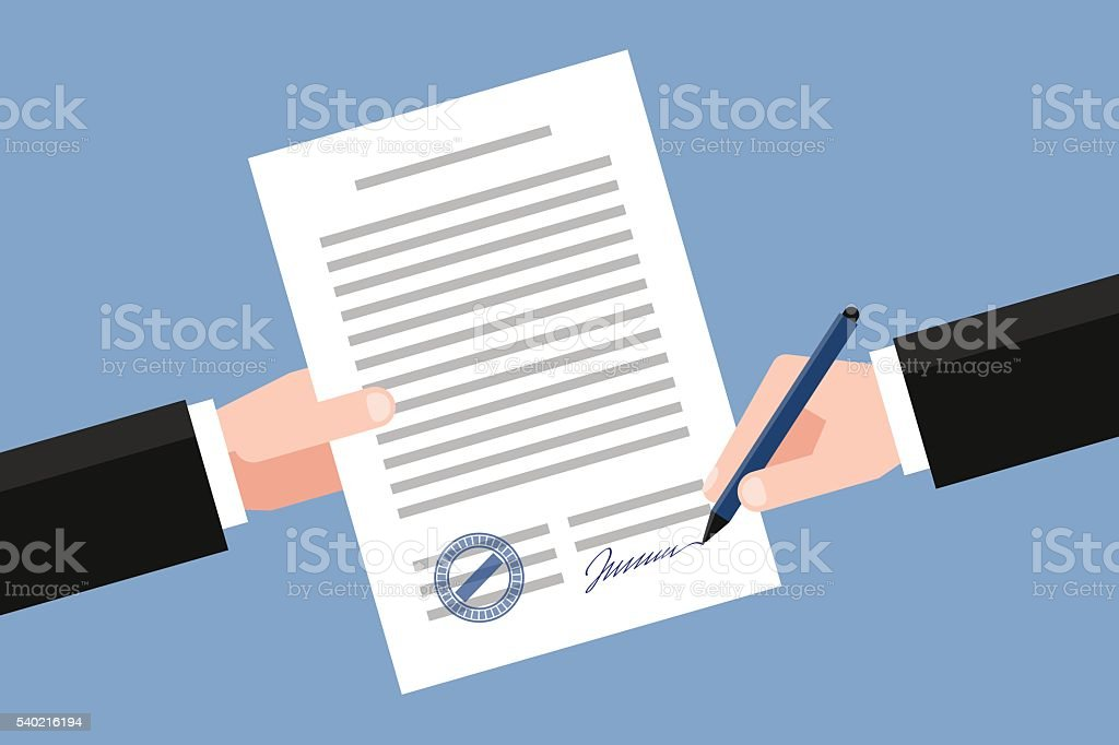 Signing of business agreement vector art illustration