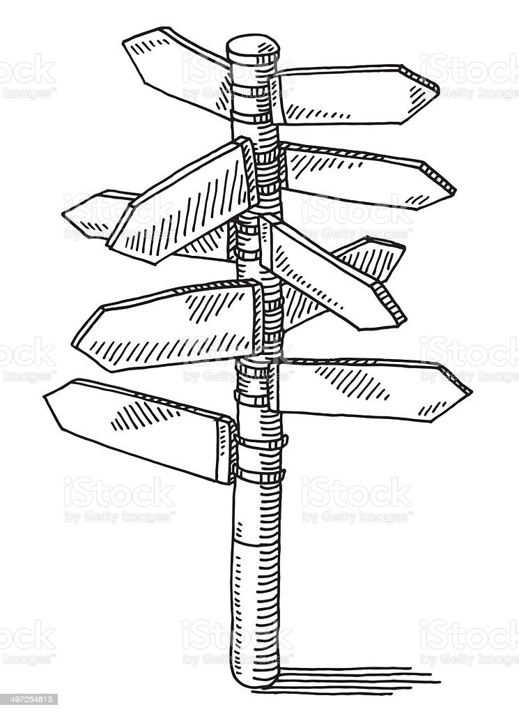 Signpost Direction Arrows Drawing vector art illustration