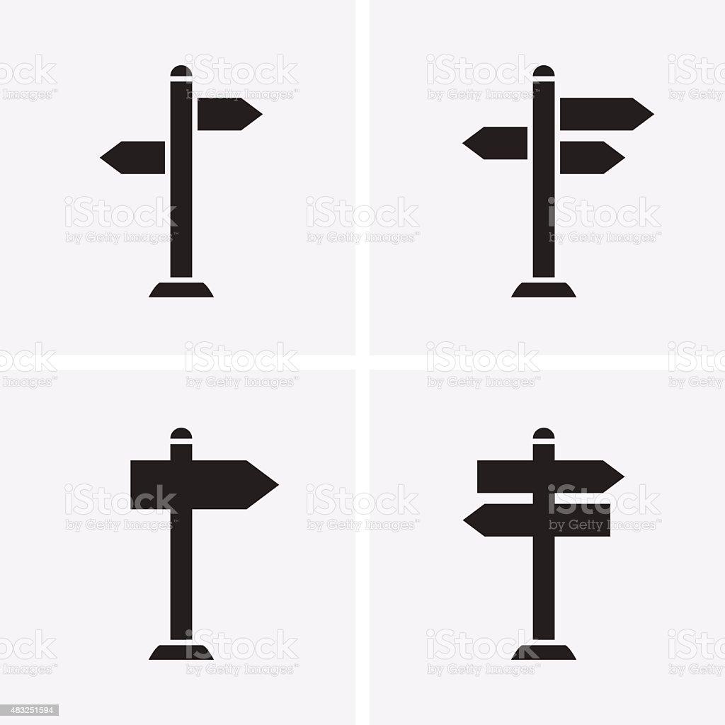 Signpost Icons vector art illustration