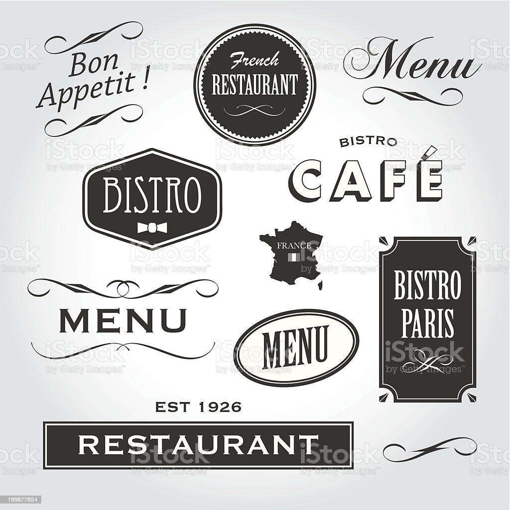 signs and symbols french restaurant vector art illustration