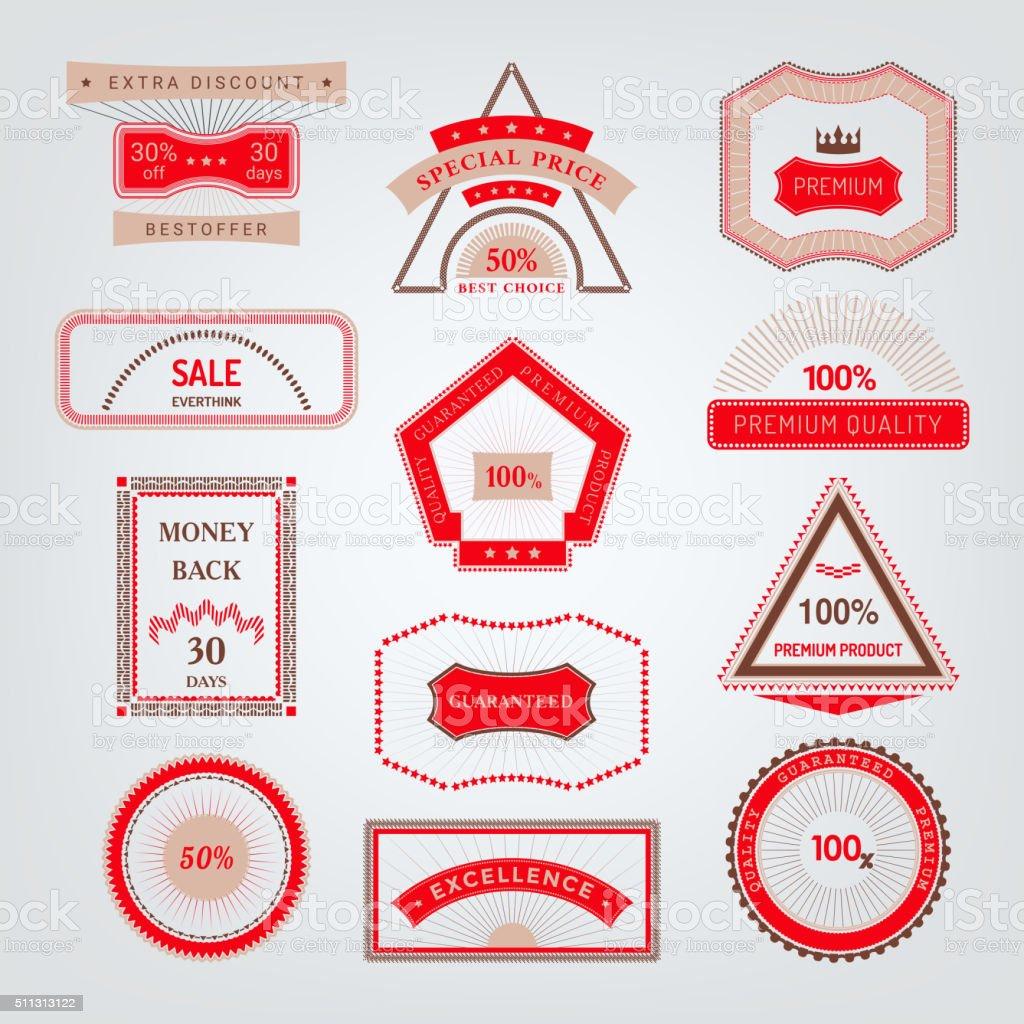 signs, emblems and labels geometric shape for design vector art illustration