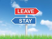 Signs 'Leave' and 'Stay' over sky
