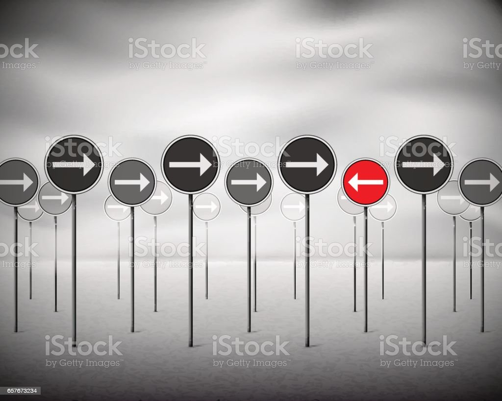 Signs with arrows pointing one direction - one pointing opposite vector art illustration