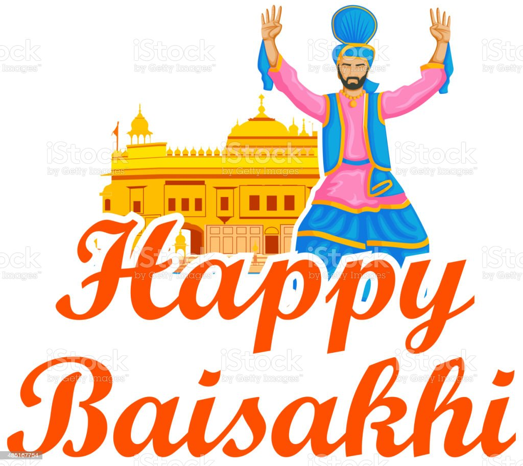 Sikh doing Bhangra, folk dance of Punjab, India for Happy vector art illustration