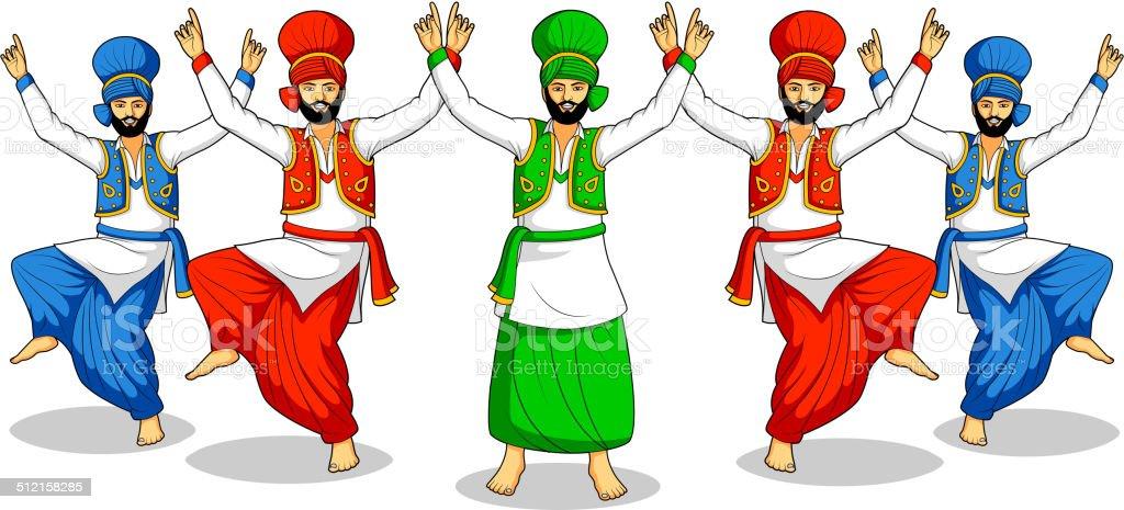 Sikh doing Bhangra vector art illustration