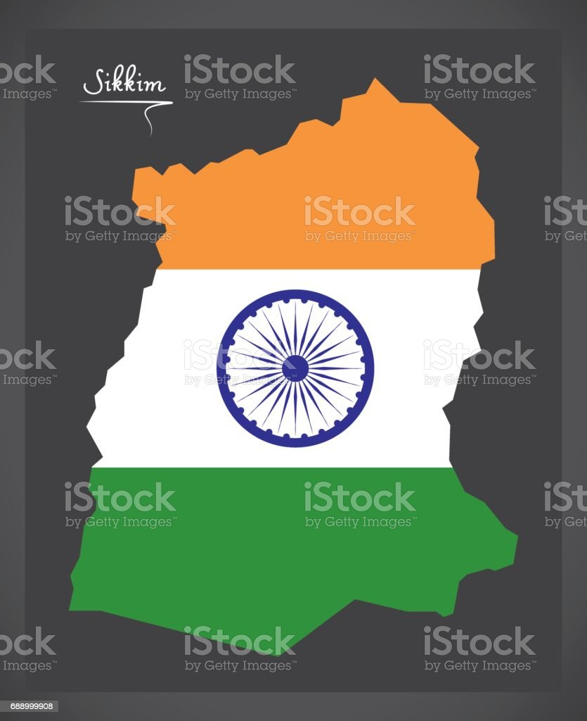 Sikkim map with Indian national flag illustration vector art illustration
