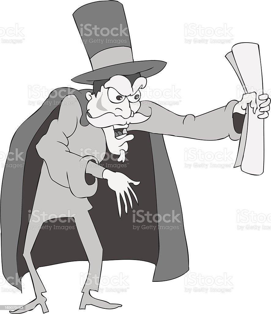 Silent Movie Villain vector art illustration