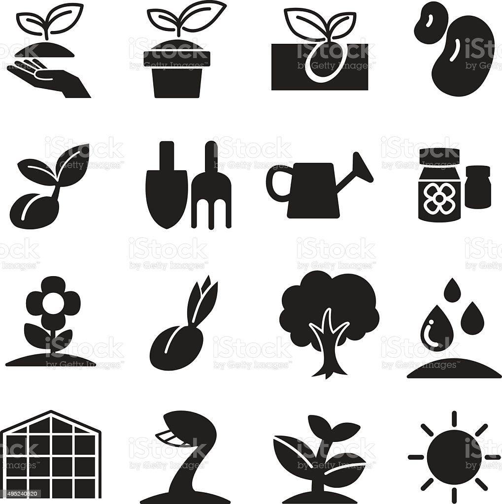Silhoette Sprout icons  set vector art illustration
