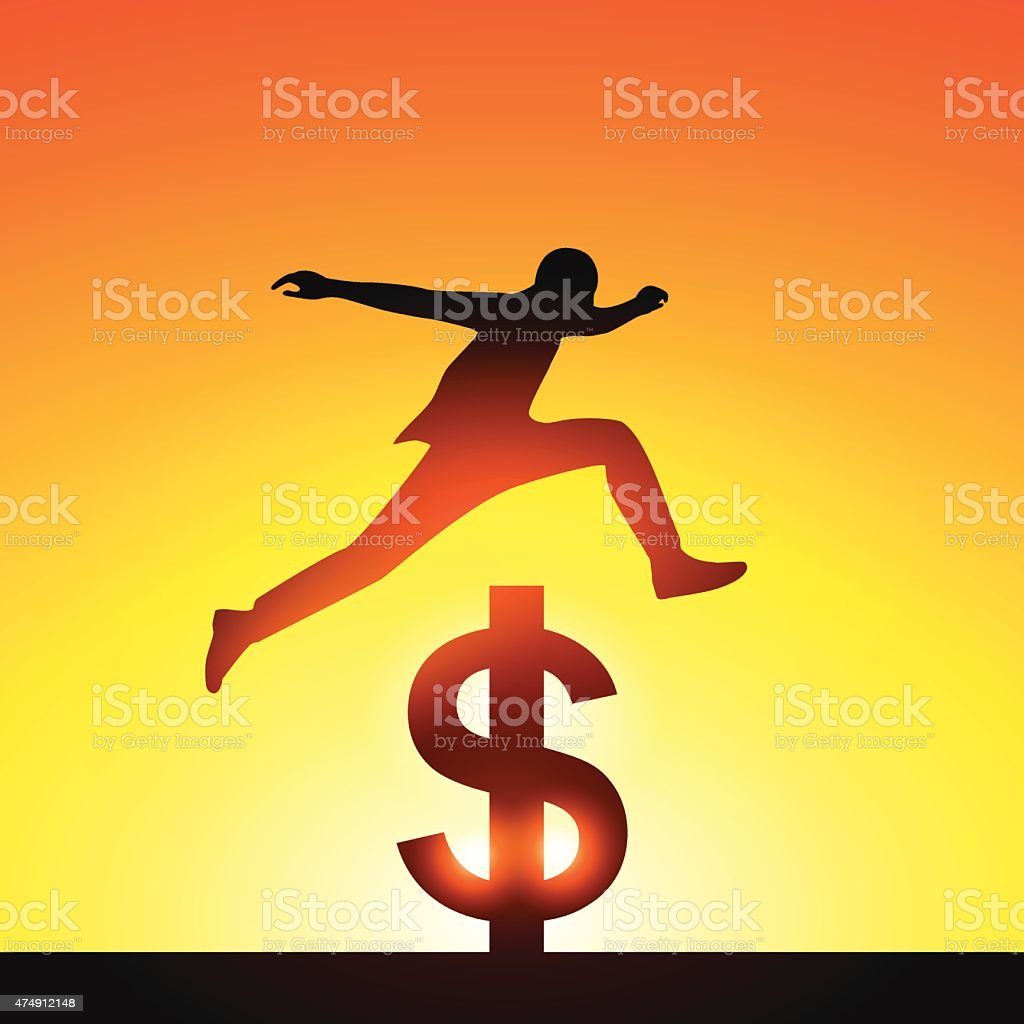 Silhouette a man jumping over dollar sign.Concept of victory ans vector art illustration