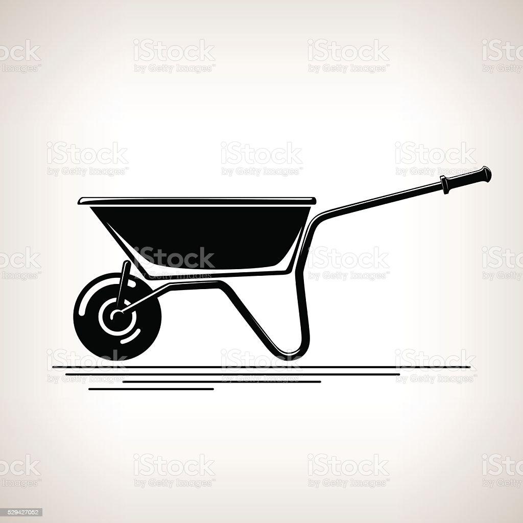 Silhouette a Wheelbarrow on a Light  Background vector art illustration