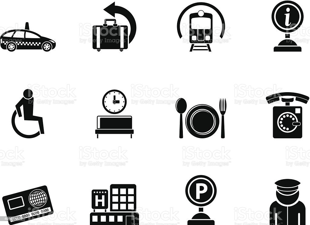 Silhouette airport, travel and transportation icons royalty-free stock vector art