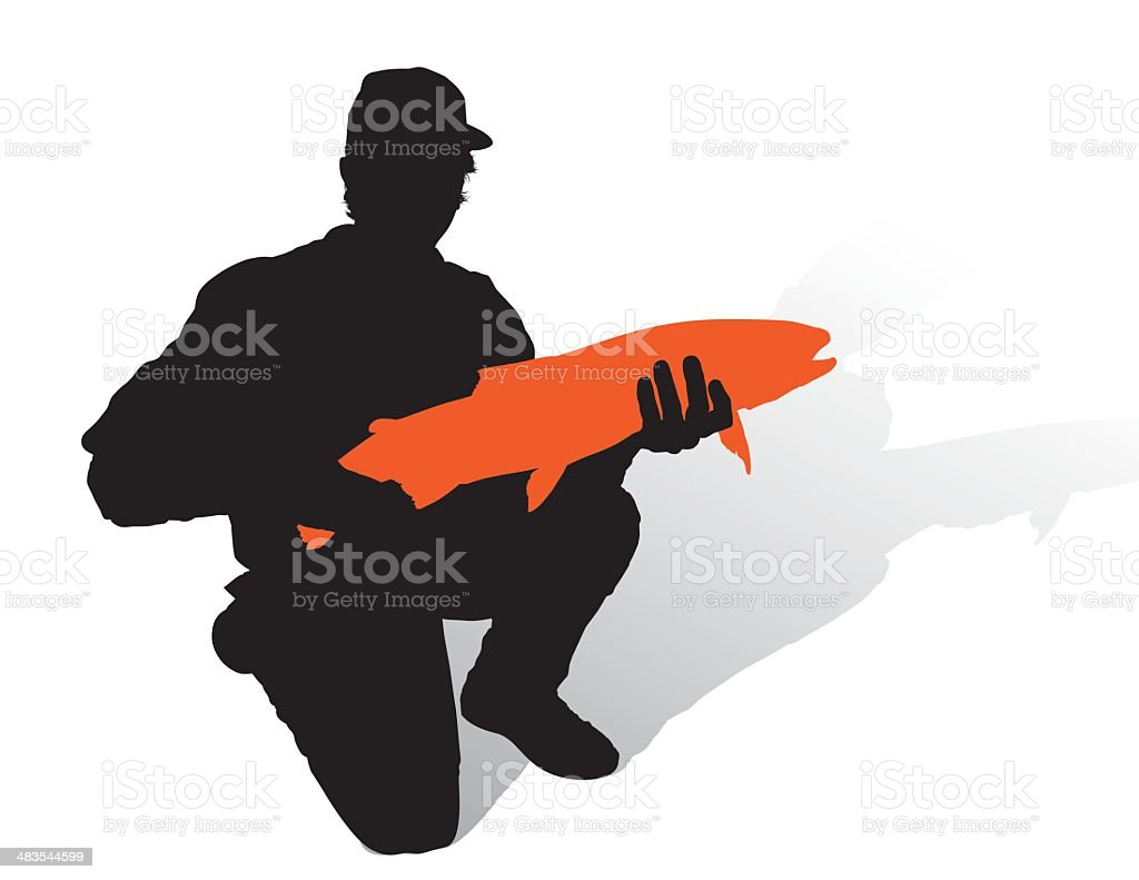 Silhouette Angler with Trout vector art illustration