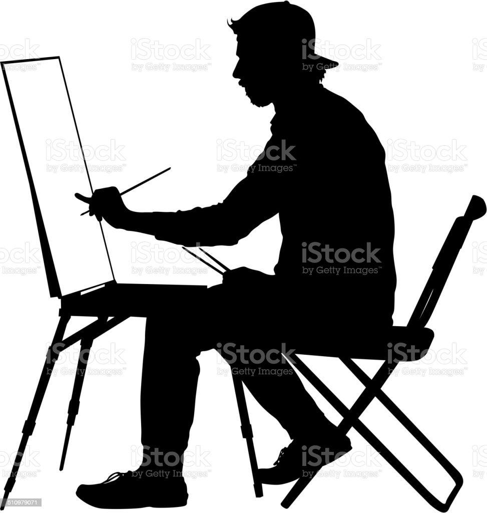 Silhouette, artist at work on a white background, vector illustr vector art illustration