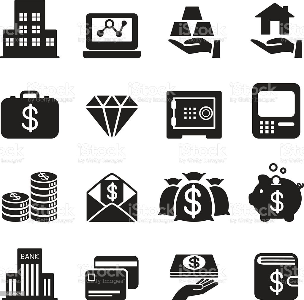 Silhouette asset / money / Treasure icons Set vector art illustration
