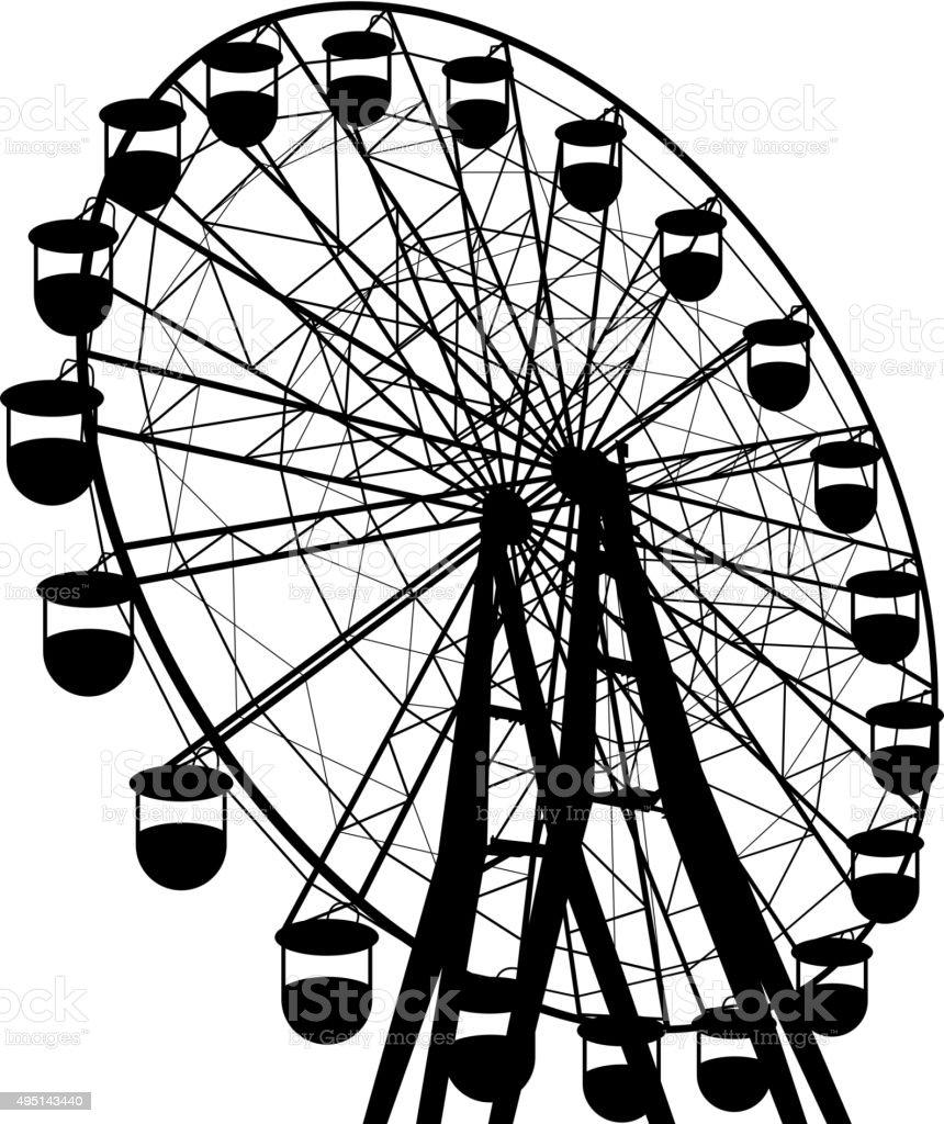 Silhouette atraktsion colorful ferris wheel. Vector illustration vector art illustration