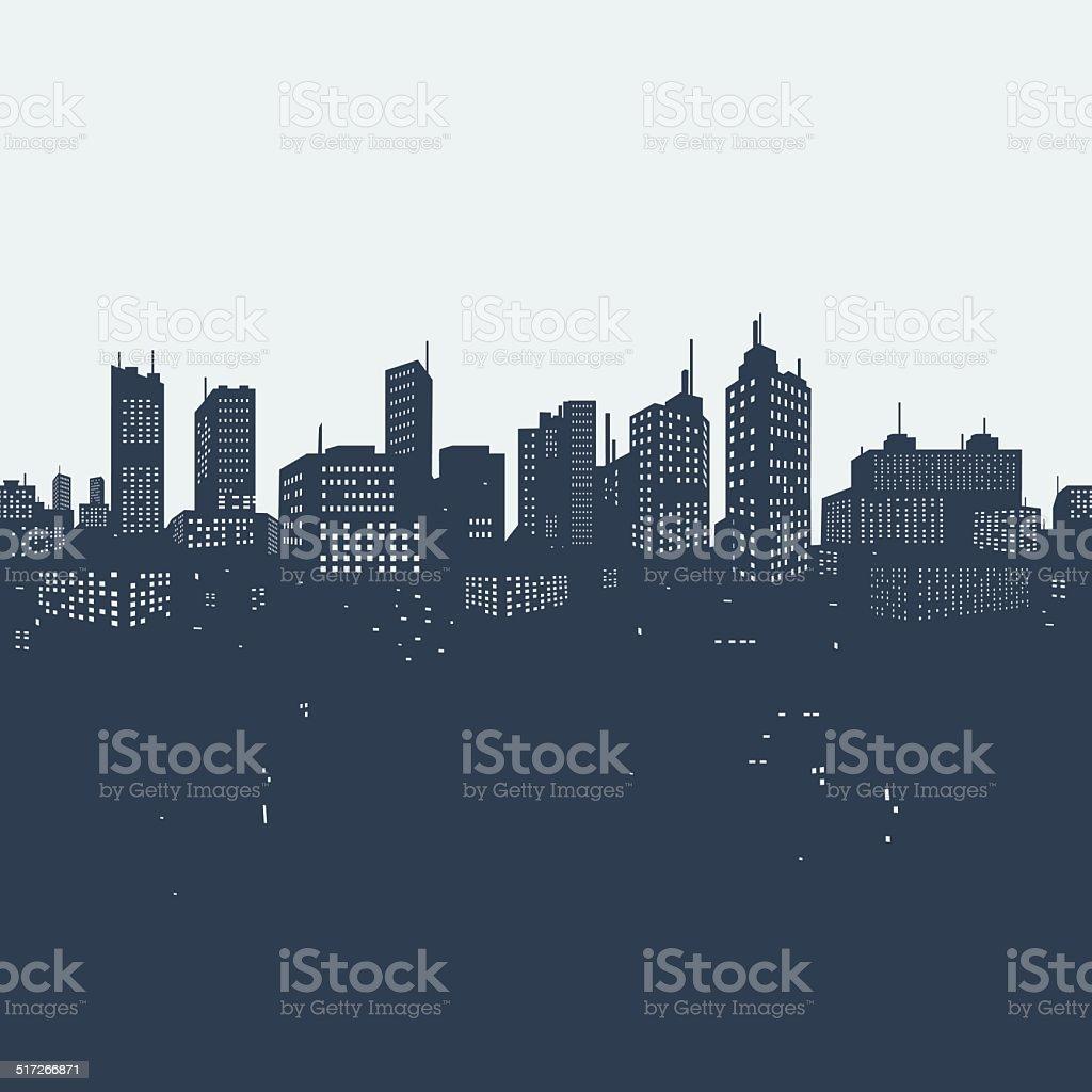 Silhouette background city vector art illustration
