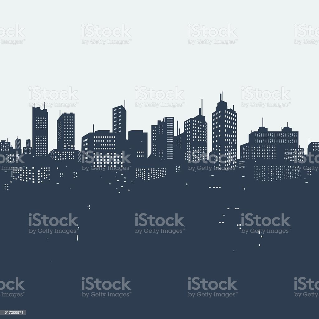 Silhouette background city vector art illustration