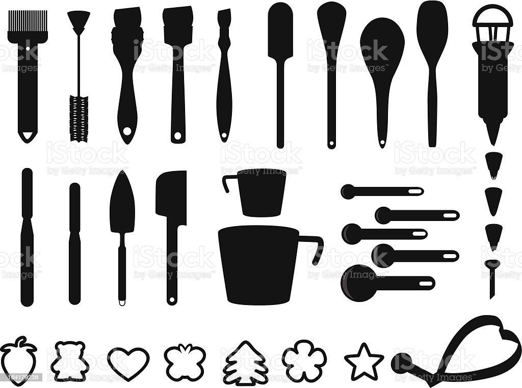 Silhouette - Bakeware, Baking, cooking tools (Set#3) vector art illustration