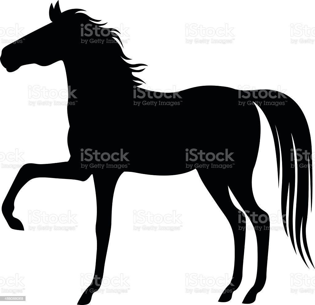 Silhouette beautiful horse vector art illustration
