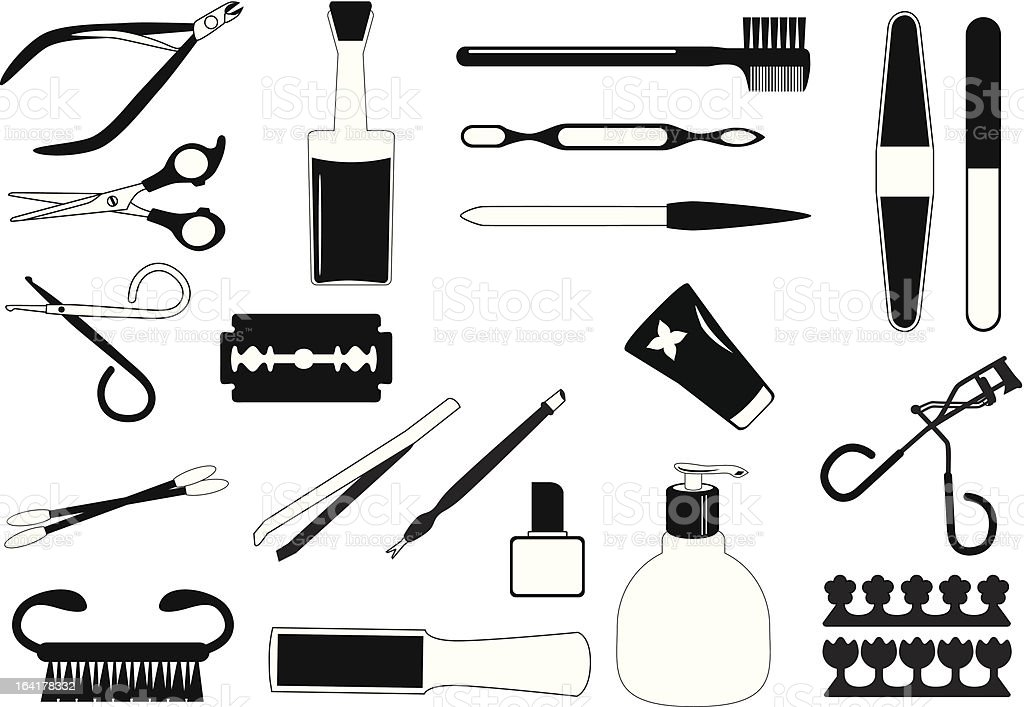 Silhouette - Beauty tools, Cosmetics (Set#1) royalty-free stock vector art
