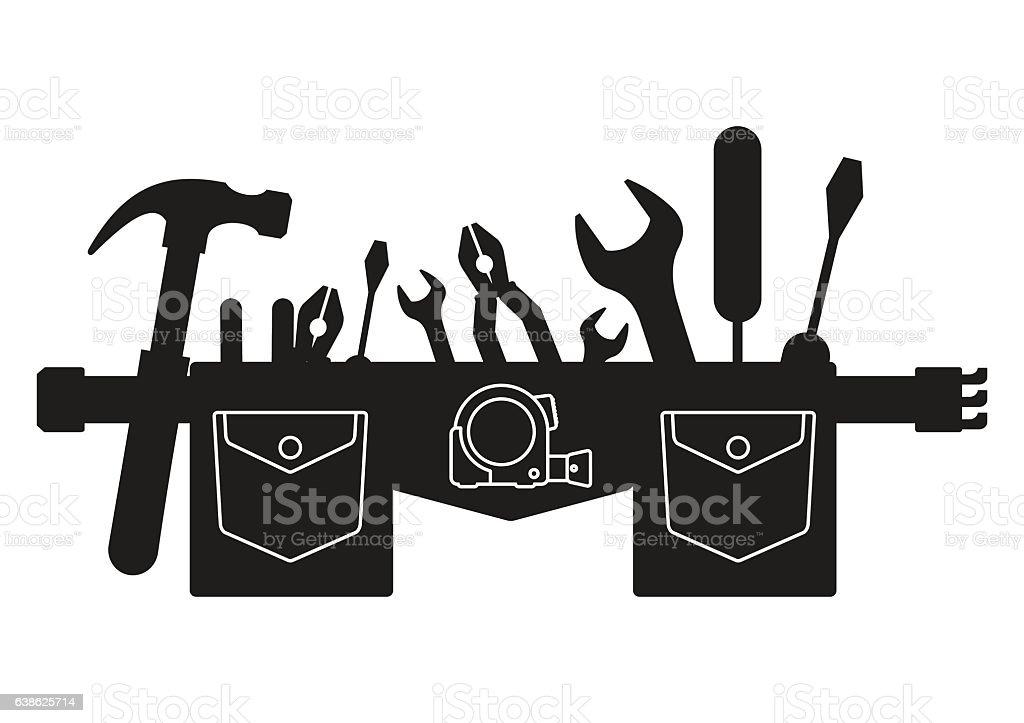 silhouette belt of tools vector art illustration