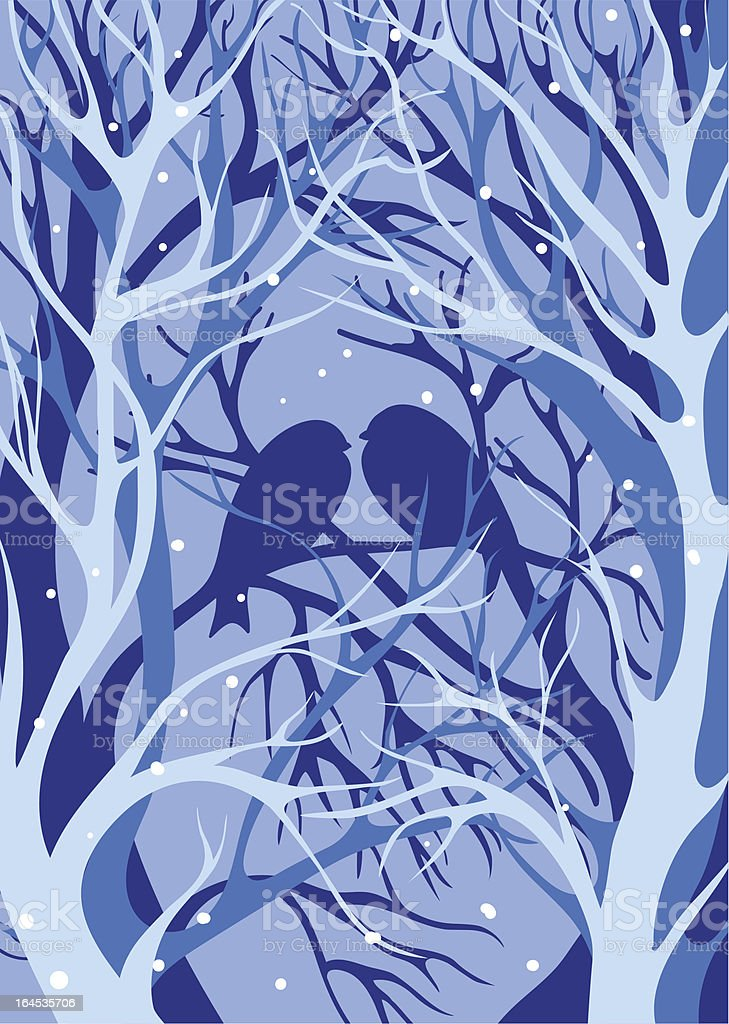 Silhouette birds of winter trees royalty-free stock vector art