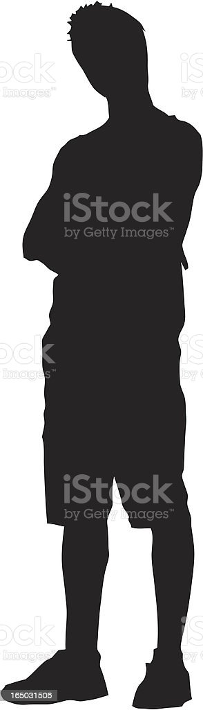 Silhouette Boy 01 vector art illustration