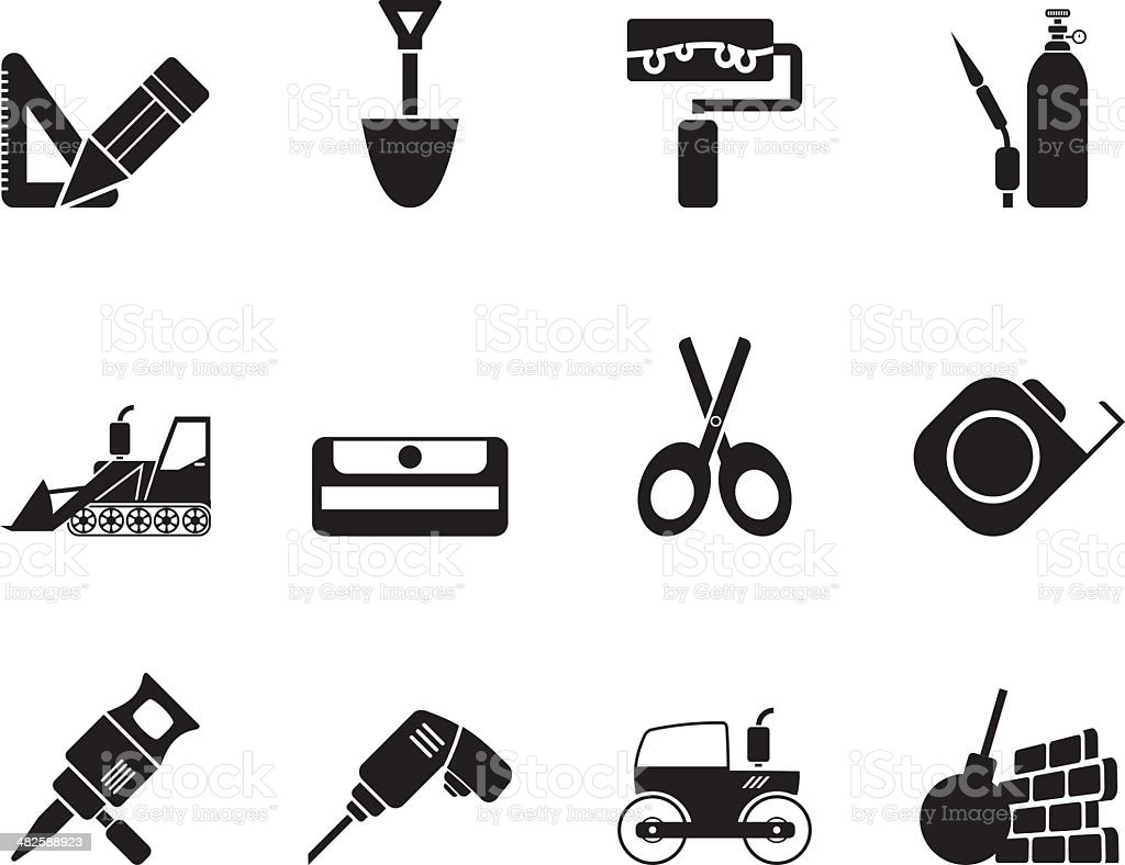 Silhouette building and construction icons royalty-free stock vector art
