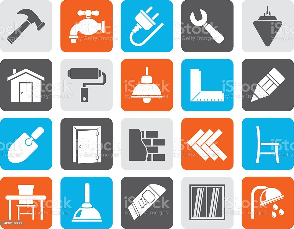 Silhouette Building and home renovation icons vector art illustration