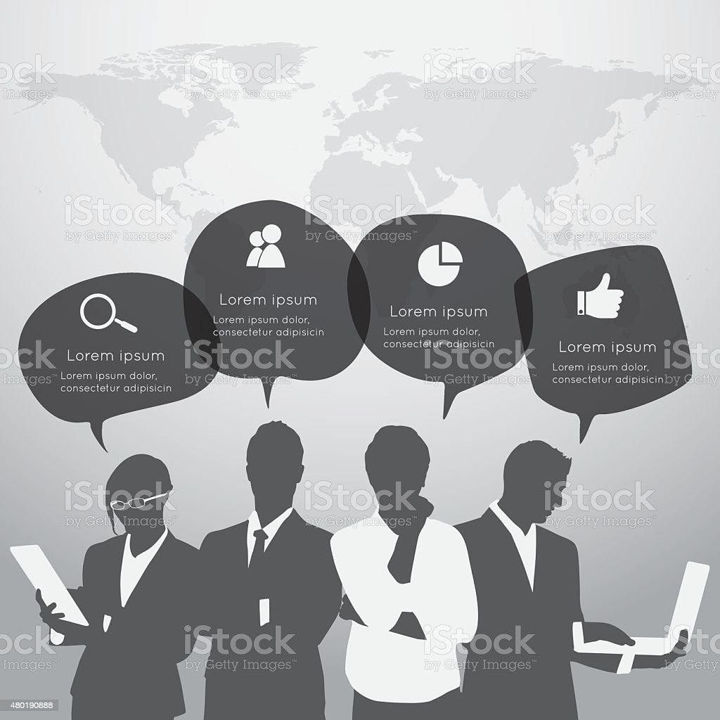 Silhouette Business people on the world background vector art illustration