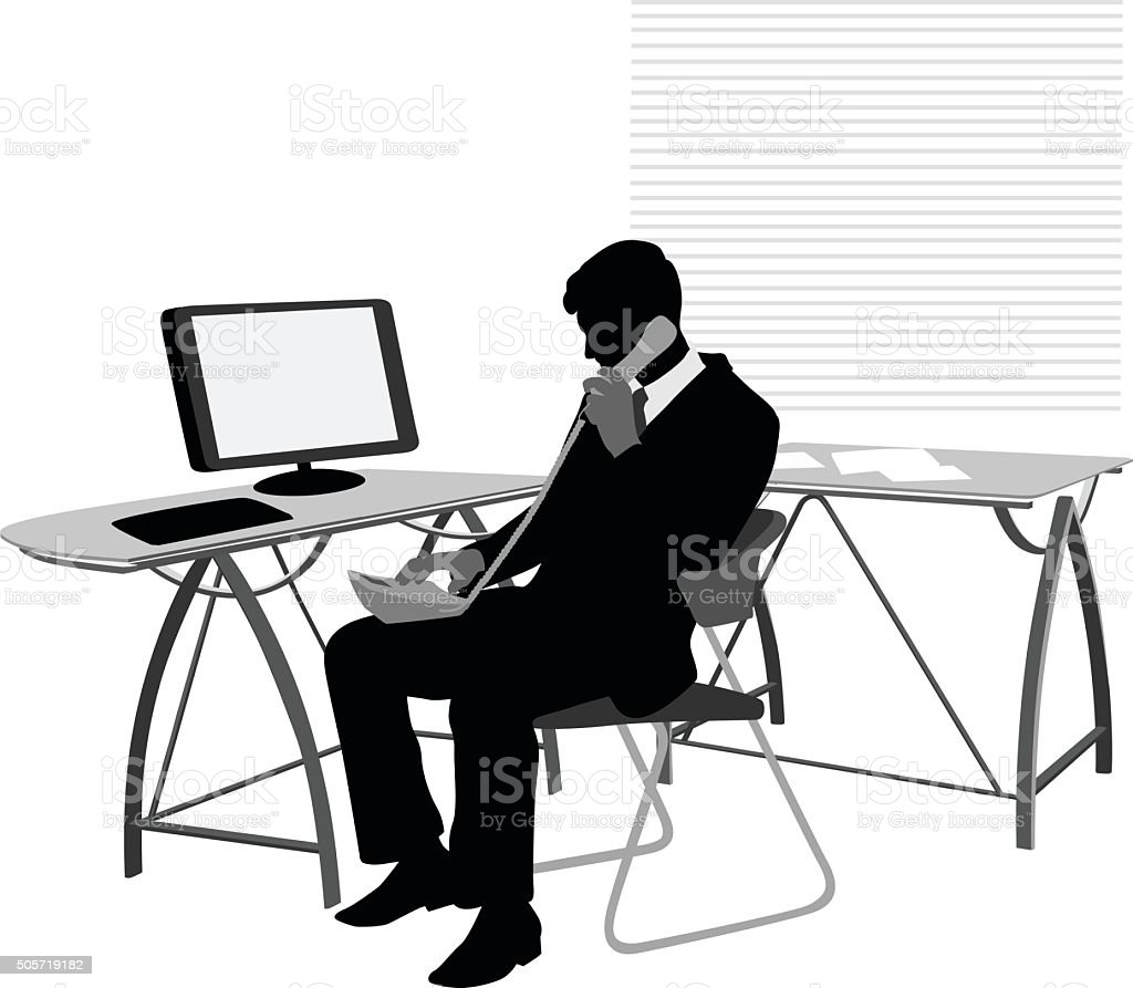 Silhouette Businessman Making A Call vector art illustration