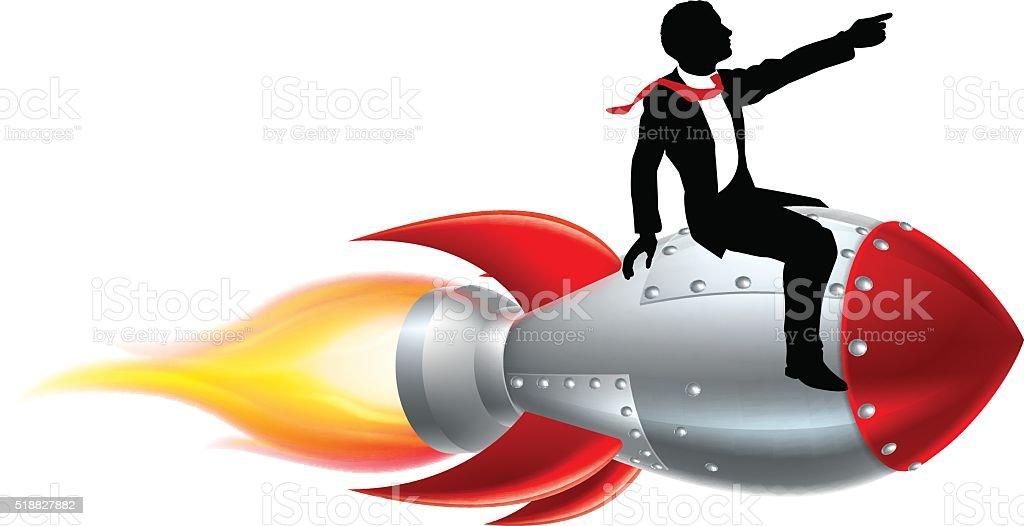 Silhouette Businessman Rocket vector art illustration