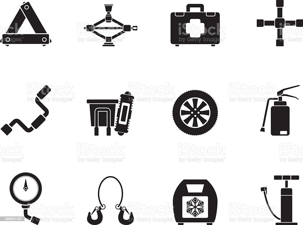 Silhouette car and transportation equipment icons vector art illustration