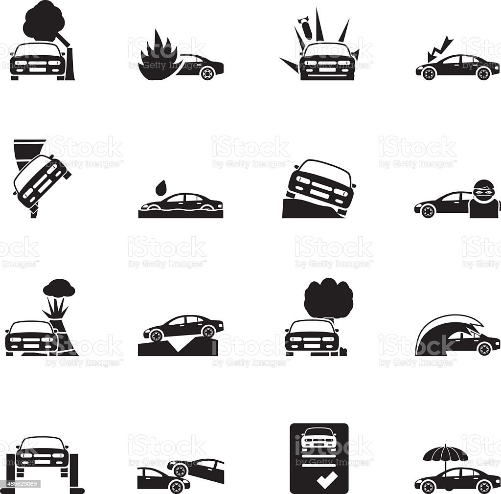Silhouette car and transportation insurance and risk icons vector art illustration