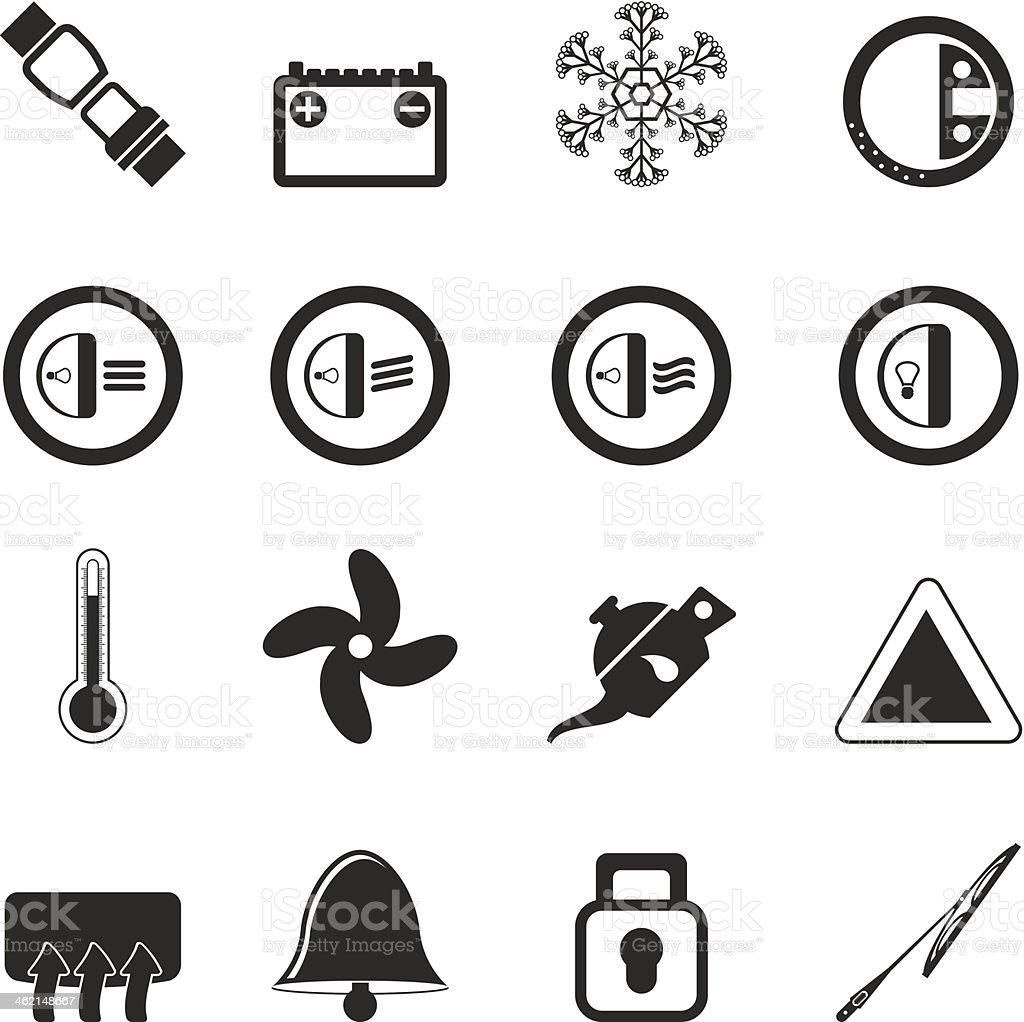 Armaturenbrett symbole  Silhouette Auto Armaturenbrett Symbole Vektor Illustration ...