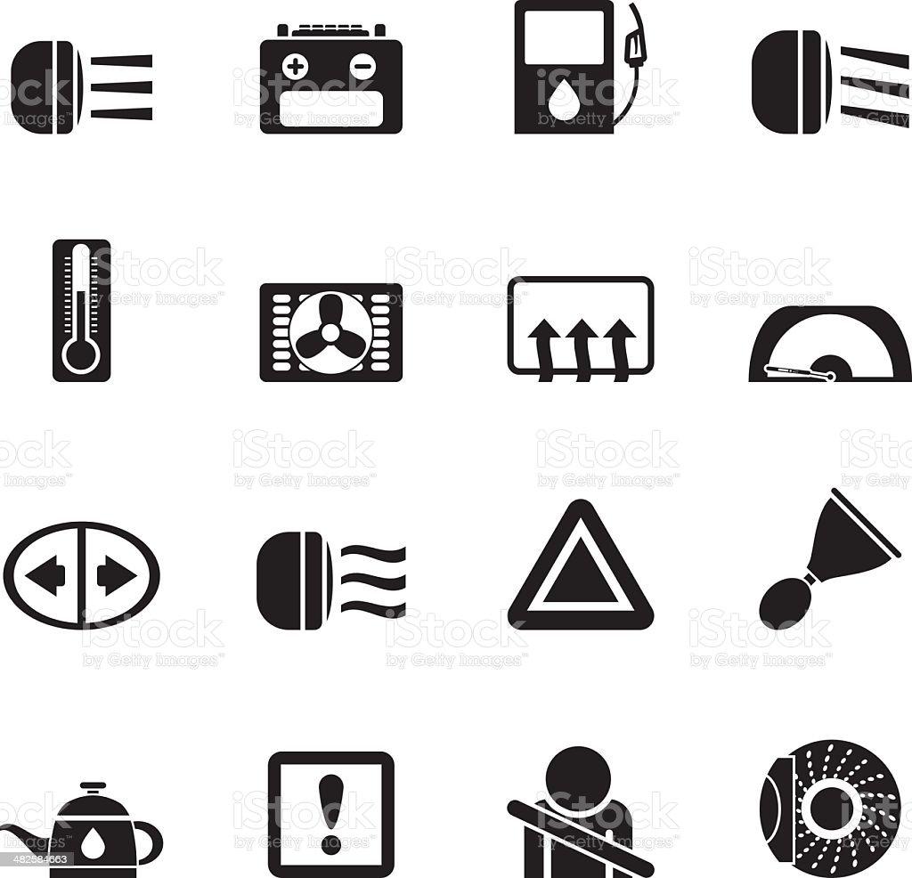 Silhouette Auto Armaturenbrett Symbole Vektor Illustration ... | {Armaturenbrett symbole 75}