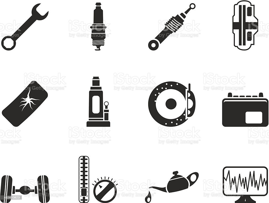 Silhouette Car Parts and Services icons royalty-free stock vector art