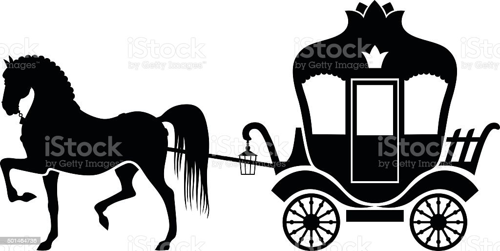 Silhouette carriage and horse vector art illustration