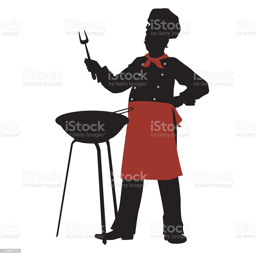 silhouette chef cooks barbecue steaks royalty-free stock vector art