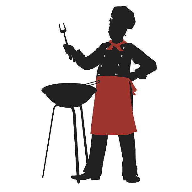 Man Grilling Silhouette Clip Art, Vector Images & Illustrations ...
