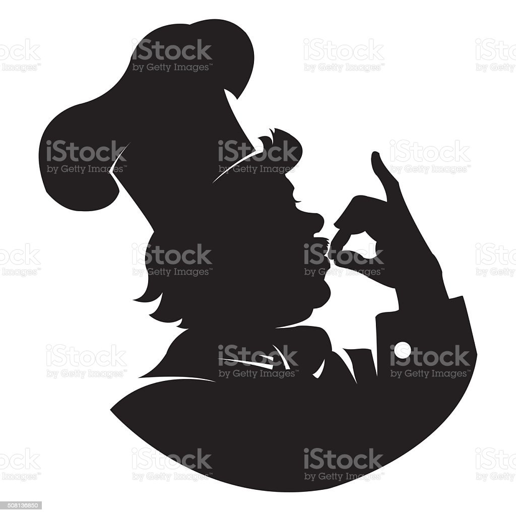silhouette Chef - Illustration royalty-free stock vector art