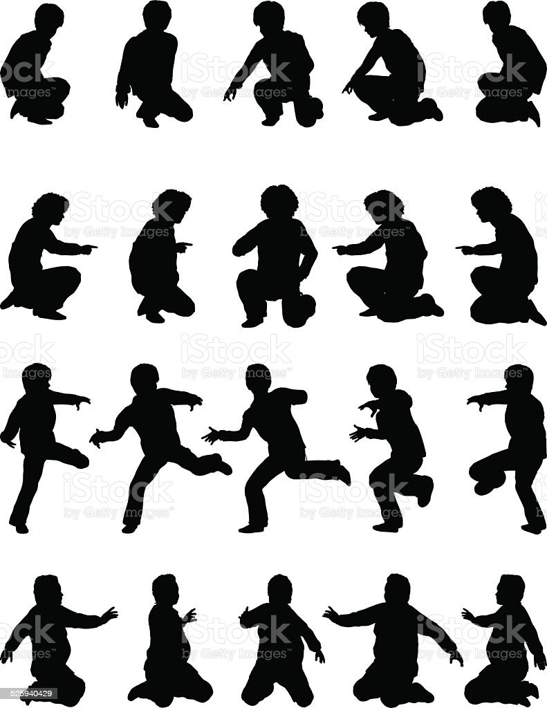 Silhouette children [Playing boys](Winter version) vector art illustration