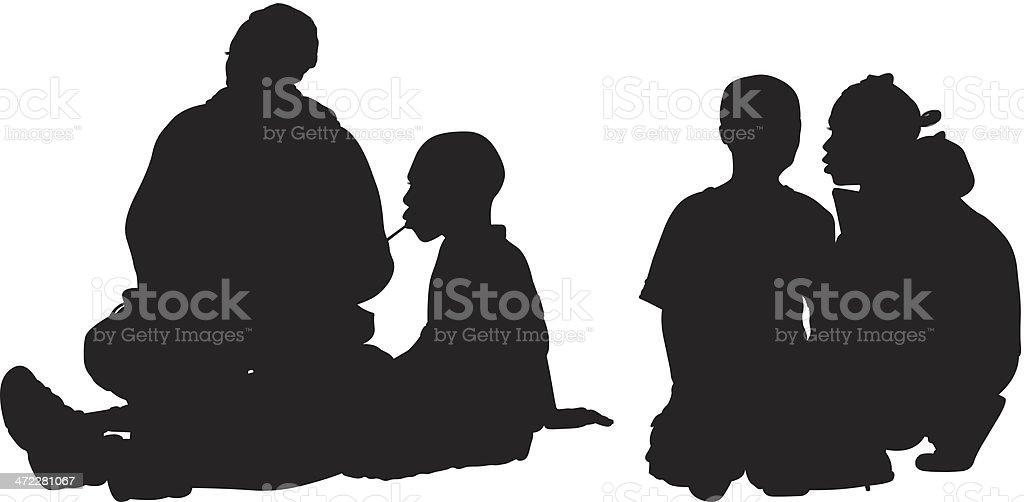 Silhouette children sitting around vector art illustration