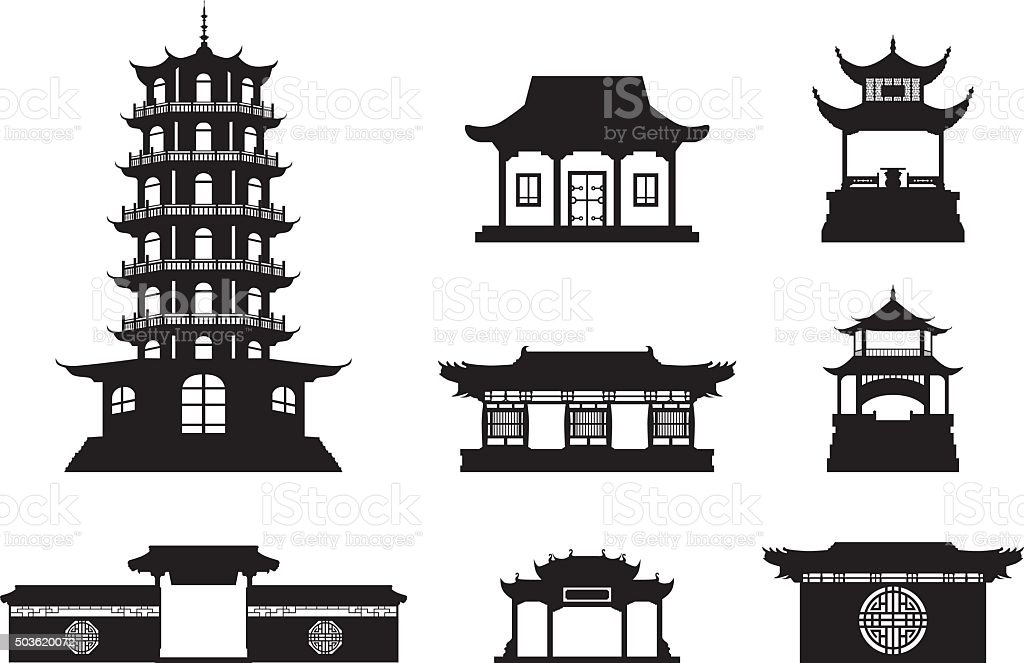 Silhouette Chinese architecture vector art illustration