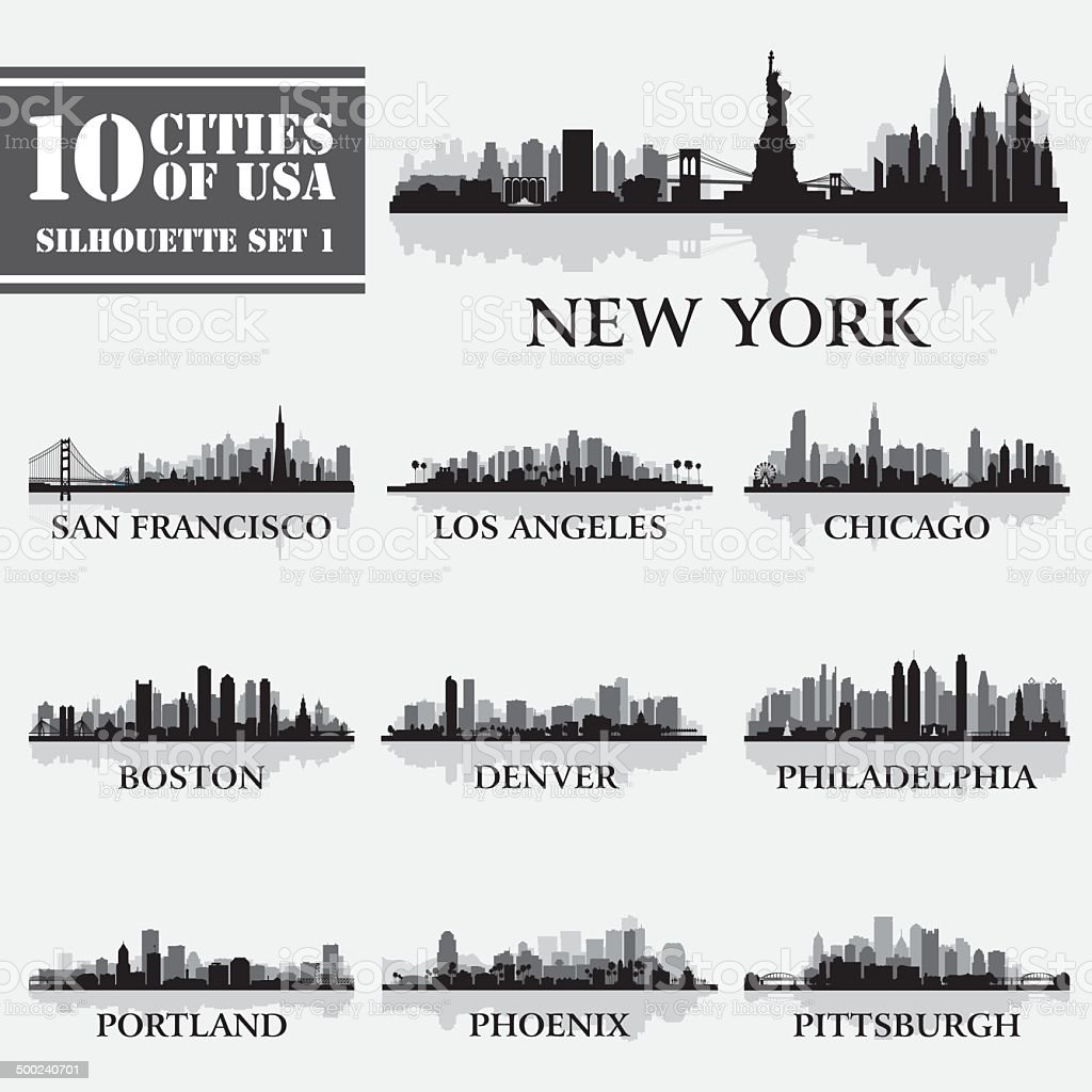 Silhouette city set of USA 1 vector art illustration