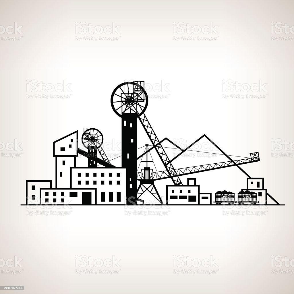 Silhouette coal mine with spoil tip and with rail cars vector art illustration