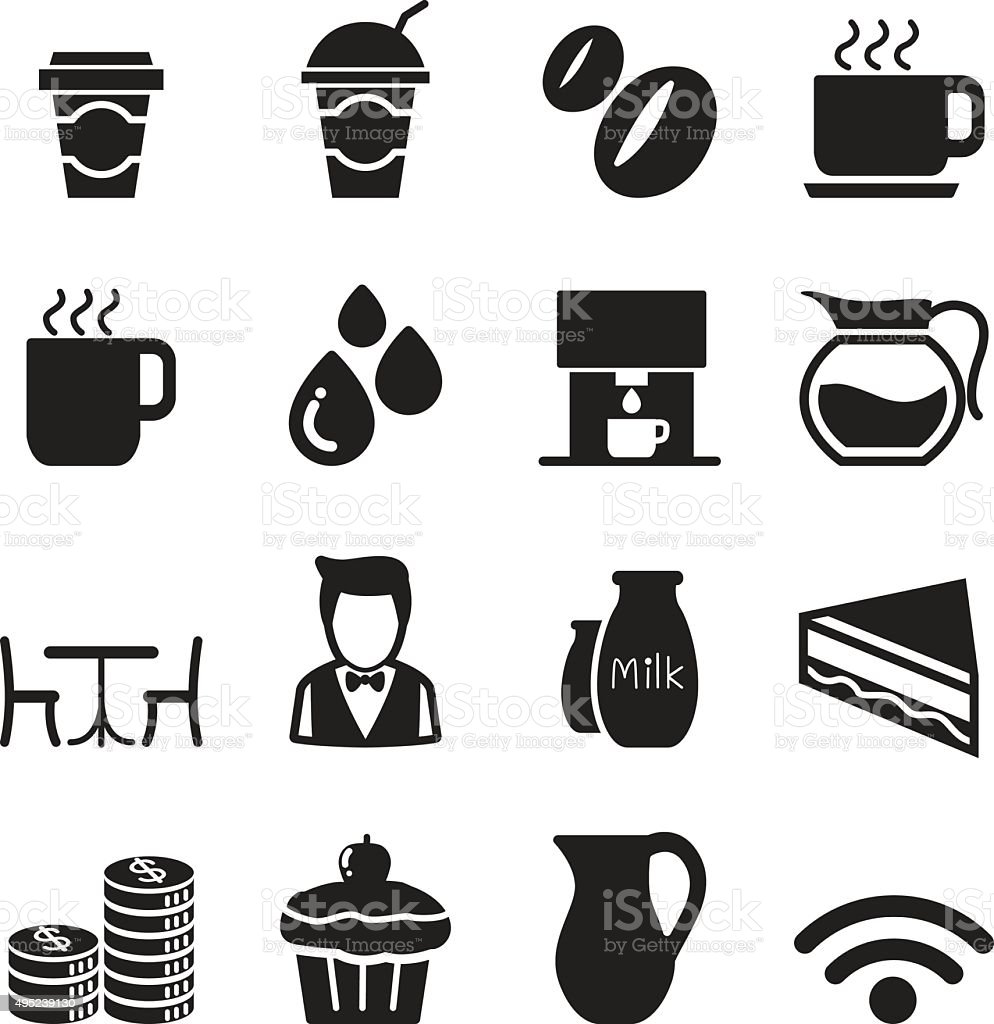Silhouette Coffee shop icons Set vector art illustration