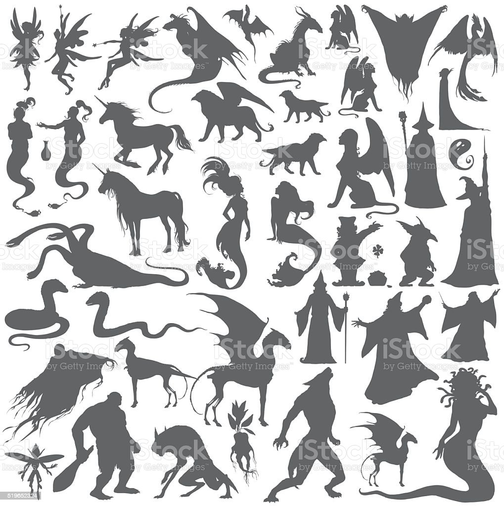 Silhouette collection of mythological people, monsters, creatures. vector art illustration